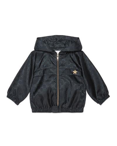Hooded GG-Print Rain Jacket, Navy, Size 18-36 Months