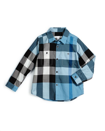 Mini Camber Check Shirt, Sky Blue, Size 4-14