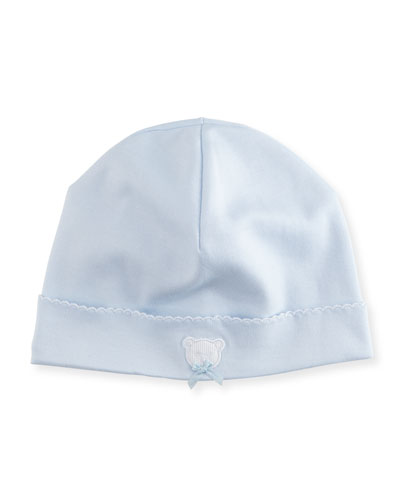 Pique Bears Pima Baby Hat, Blue