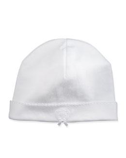 Pique Bears Pima Baby Hat, White