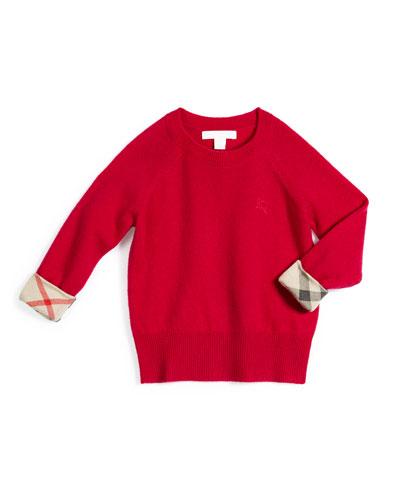 Georgey Cashmere Check-Cuff Pullover Sweater, Fuchsia, Size 4-14