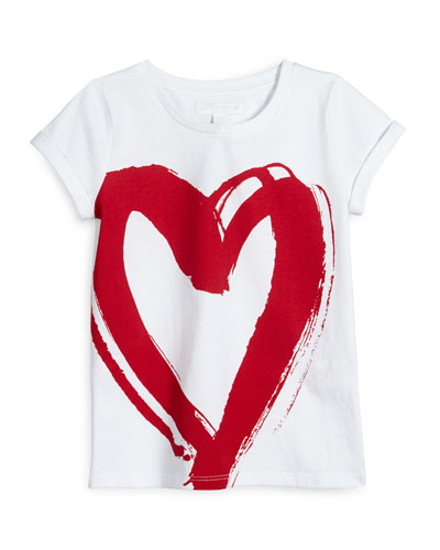 Cap-Sleeve Heart Tee, Size 4-14