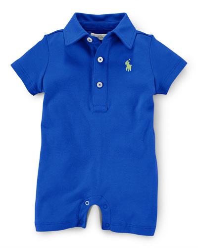 Pima Polo Button-Front Shortall, Size 3-18 Months