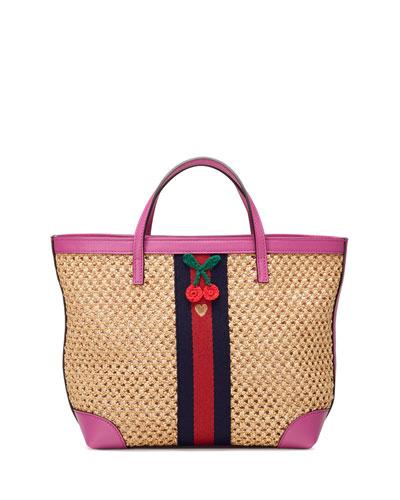 Girls' Paglia Mesh Straw Leather-Trim Tote Bag, Natural