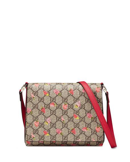 f8d594633 Gucci Girls' Strawberry-Print GG Supreme Canvas Messenger Bag,  Beige/Multicolor