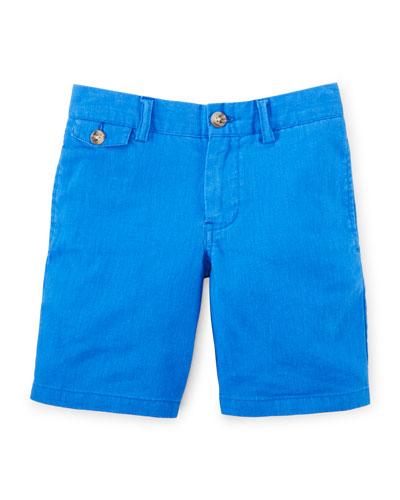 Linen-Blend Bedford Shorts, Size 2-7