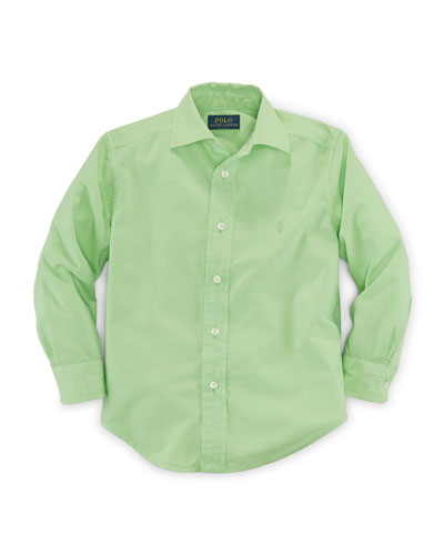 Long-Sleeve Custom-Fit Poplin Shirt, Size 2-7