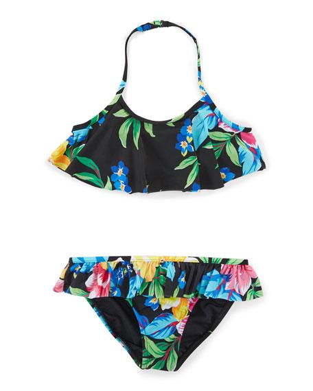 Floral Ruffle Bikini, Polo Black, Size 2-6X