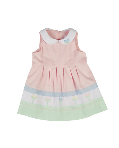 Sleeveless Finewale-Pique Tulip Dress, Multicolor, Size 2-6