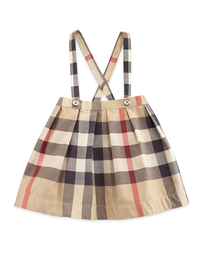 Sofia Pleated Check Skirt w/ Suspenders, Tan, Size 3M-3