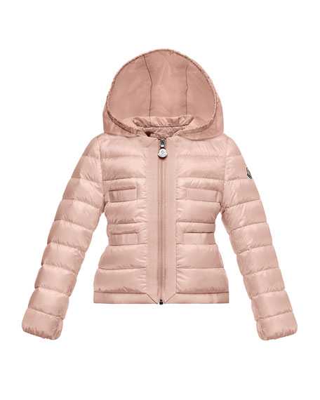 Alose Hooded Lightweight Down Puffer Coat, Light Pink, Size 2-3