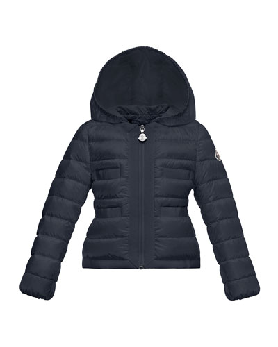 Alose Hooded Lightweight Down Puffer Coat, Navy, Size 8-14