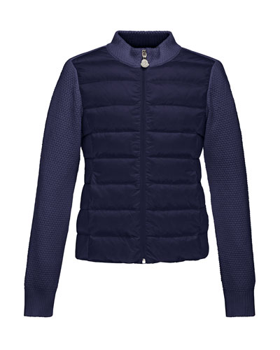 Maglia Knit Zip Cardigan w/Down Front, Navy, Size 8-14