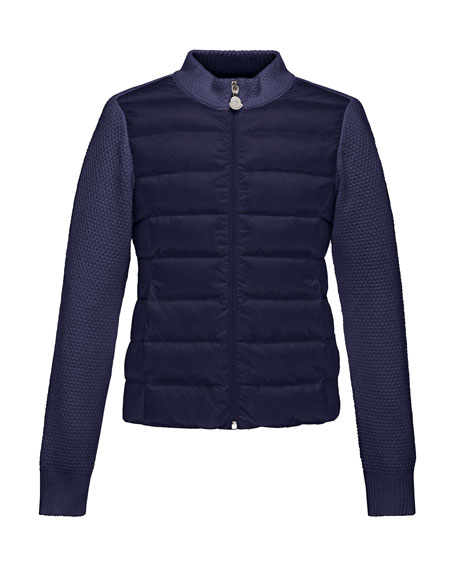 Moncler Maglia Knit Zip Cardigan w/Down Front, Navy,