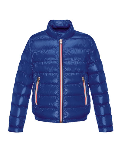 Rigel Zip-Front Lightweight Down Puffer Coat, Dark Blue, Size 8-14