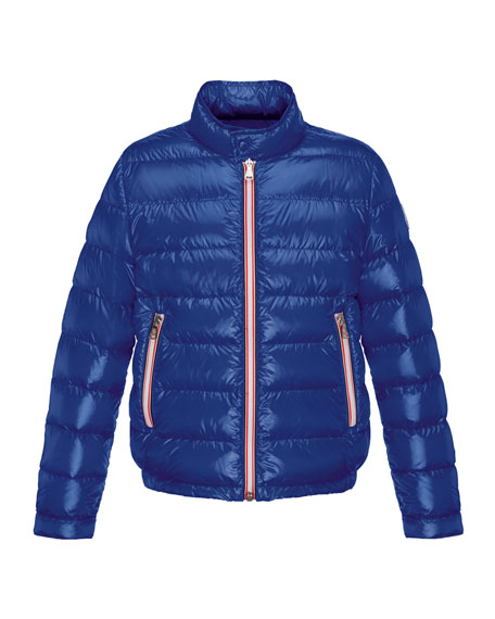 Moncler Rigel Zip-Front Lightweight Down Puffer Coat, Dark