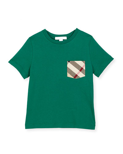 Check-Pocket Cotton Jersey Tee, Bright Bottle Green, Size 4-14