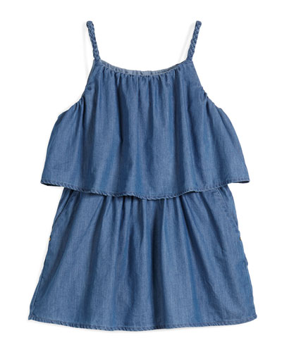 Sleeveless Chambray Popover Dress, Denim, Size 4-5