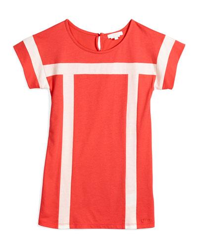 Short-Sleeve Contrast-Trim Shift Dress, Red, Size 4-5
