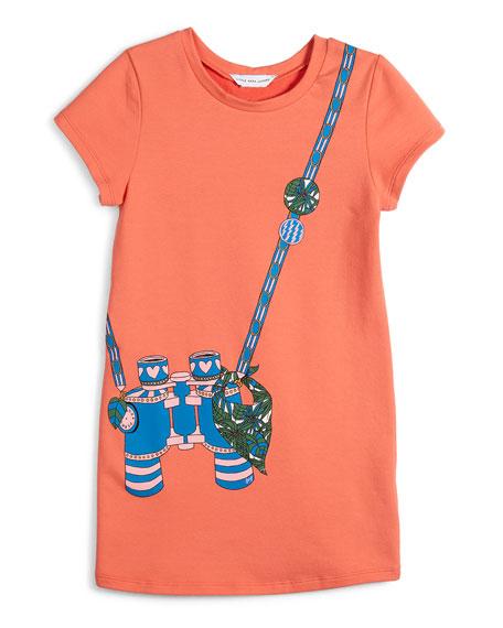 Short-Sleeve Binocular Trompe l'Oeil Dress, Size 6-10
