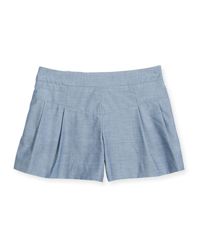 Pleated Chambray Shorts, Denim, Size 8-14