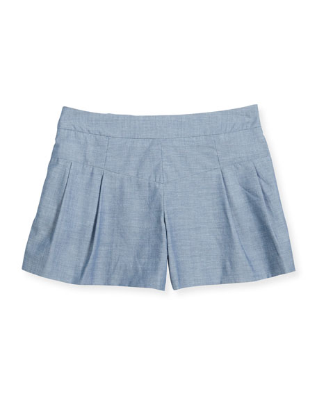 Pleated Chambray Shorts, Denim, Size 8-14