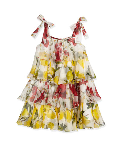 Sleeveless Tiered Chiffon Lemon-Print Dress, White/Multicolor, Size 8-10