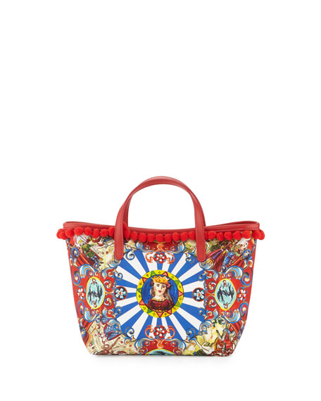 Sicily-Print Pompom-Trim Tote Bag, Carretto/Multi