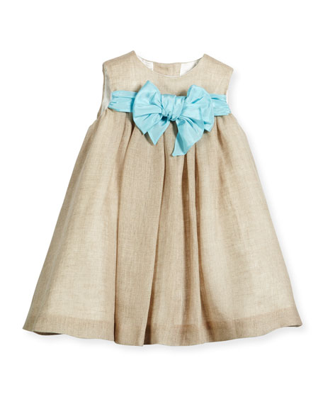 Sleeveless Linen Shift Dress, Natural, Size 12M-3