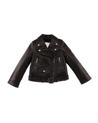 Arnstead Leather Biker Jacket, Black, Size 4-14