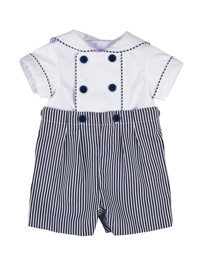 Fine-Wale Double-Breasted Sailor Shortall Set, Navy/White, Size 3-24 Months