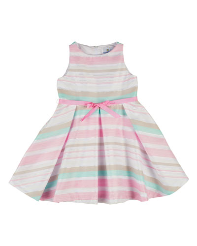 Sleeveless Striped Pleated Organza Dress, Pink, Size 4-6