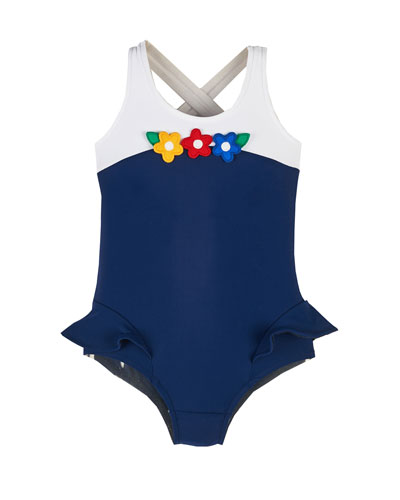 Floral-Trim Colorblock One-Piece Swimsuit, Navy, Size 2-6X