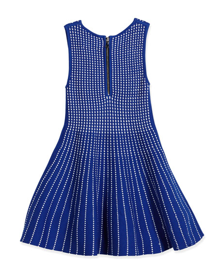 Dot-Striped Knit Fit-and-Flare Dress, Blue, Size 8-14