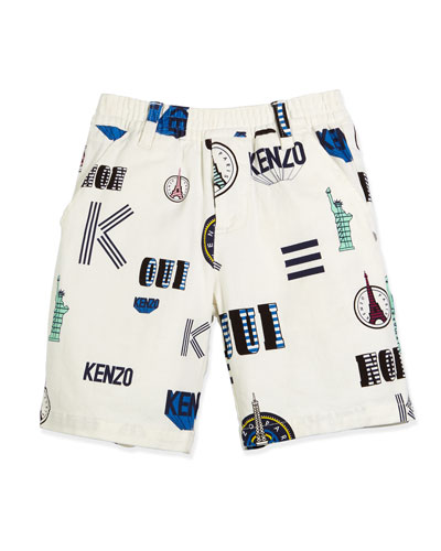 Printed Stretch Twill Bermuda Shorts, White, Size 6-12