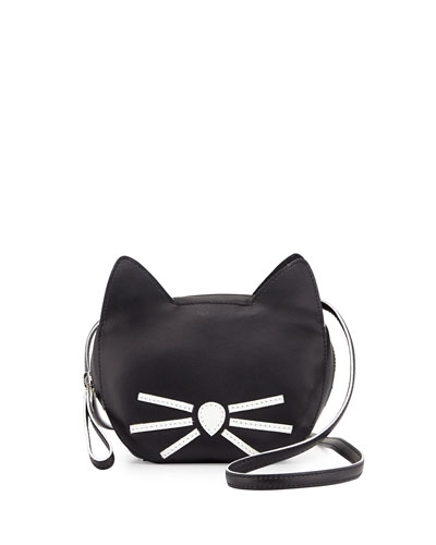 Faux-Leather Cat Coin Purse, Black
