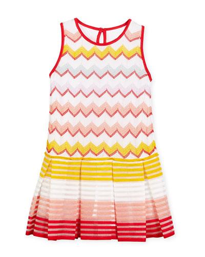 Sleeveless Pleated Zigzag Dress, Multicolor, Size 6-10