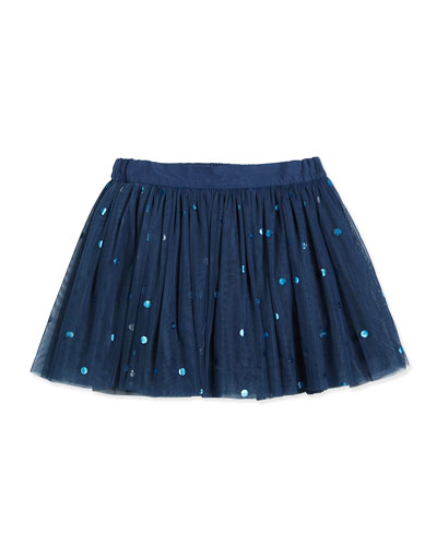 Tulle Polka-Dot Skirt, Sailor Blue, Size 3-12 Months