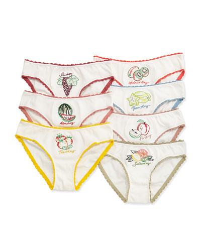 Peonie 7-Day Fruit Underwear Set, White, Size 4-10