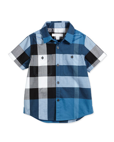 Short-Sleeve Mini Camber Check Shirt, Blue, Size 4-14