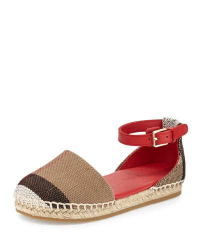 Rhimes Check-Print Espadrille Flat, Military Red/Tan, Youth