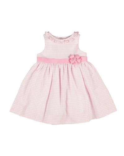 Sleeveless Ruffle-Trim Tattersall Dress, White/Pink, Size 4-6