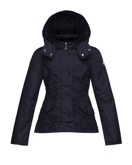 Moncler Ayrolette Hooded Raincoat, Dark Blue, Size 2-3