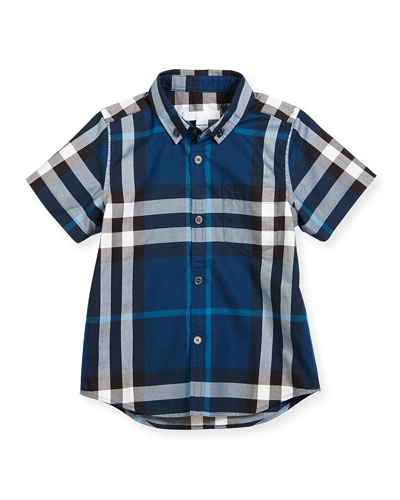 Fred Mini Short-Sleeve Check Shirt, Size 4-14
