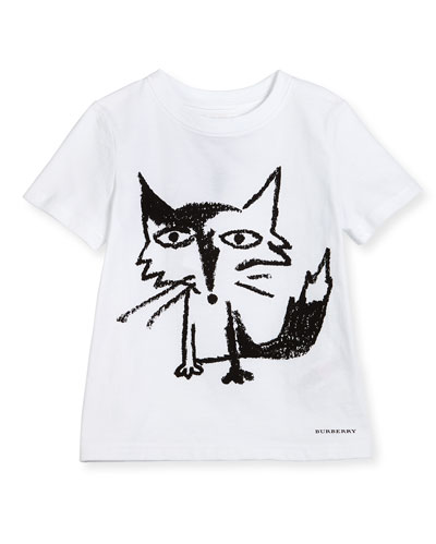 Short-Sleeve Fox Jersey Tee, White, Size 4-14