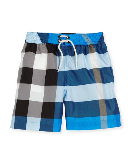 Burberry Jeffries Check Swim Trunks, Blue, Size 4-14