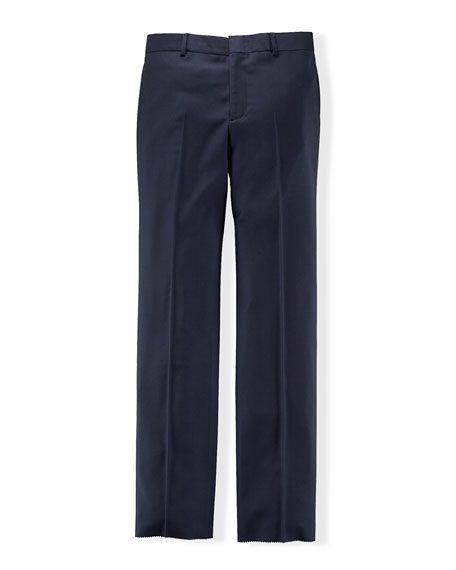 Wool Twill Straight-Leg Pants, Navy, Size 4-7