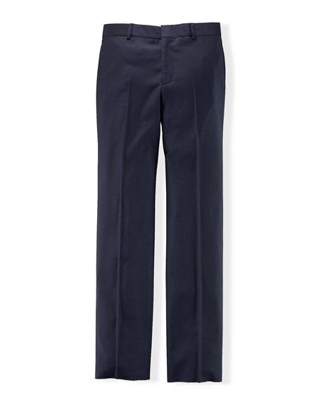 Wool Twill Straight-Leg Pants, Navy, Size 4-7