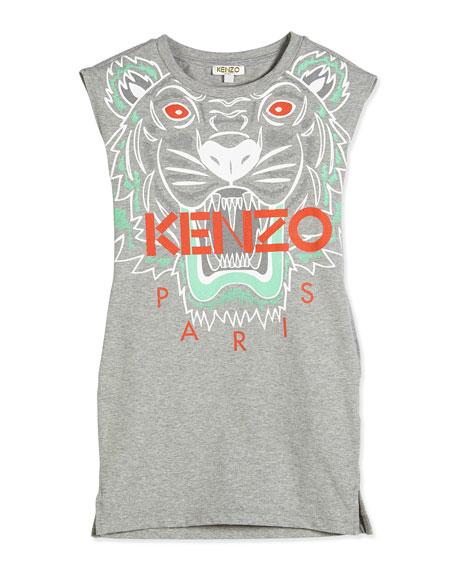 Logo-Print Jersey T-Shirt Dress, Gray, Size 14-16