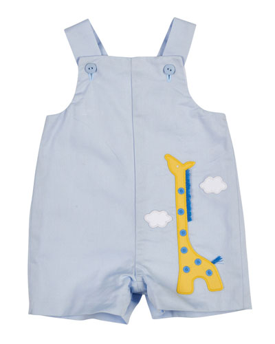 Cotton Pique Giraffe Overalls, Light Blue, Size 3-24 Months